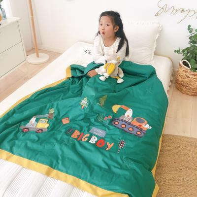 韩式A类60支全棉绣花儿童夏被 幼儿园被子夏凉被空调被 120x150cm 工程小队-绿