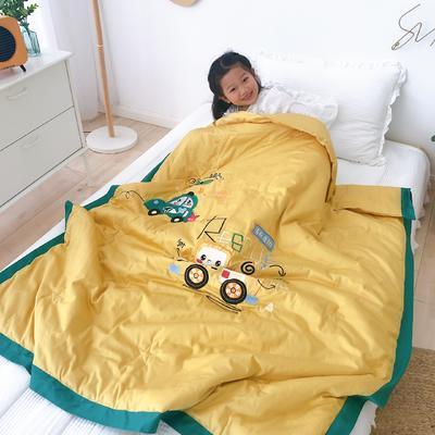 韩式A类60支全棉绣花儿童夏被 幼儿园被子夏凉被空调被 120x150cm 汽车精灵-黄