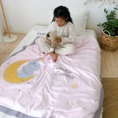 韩式A类60支全棉绣花儿童夏被 幼儿园被子夏凉被空调被 120x150cm 月亮小象-粉