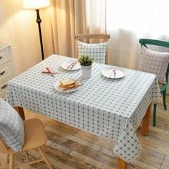 2018新款-绣花棉麻条格桌布 桌布 130*200cm /一条 白底蓝色小格子