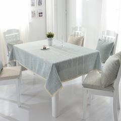 2018新款-绣花棉麻条格桌布 桌布130*180cm /一条 蓝灰条纹