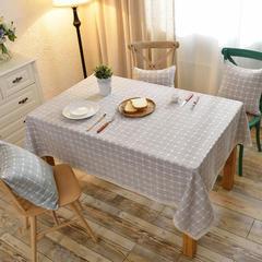 2018新款-绣花棉麻条格桌布 桌布 130*130cm /一条 米咖小格子