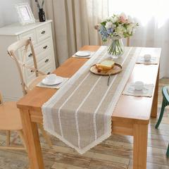 2018新款-桌旗餐垫 40*130cm/一条 双色米咖条纹