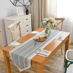 2018新款-桌旗餐垫 40*130cm/一条 双色浅灰条纹