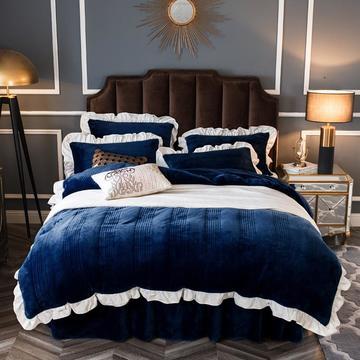 2018新款-韩版法莱绒新款绗缝加棉床裙四件套 床裙款1.2m(4英尺)床 天使-藏蓝