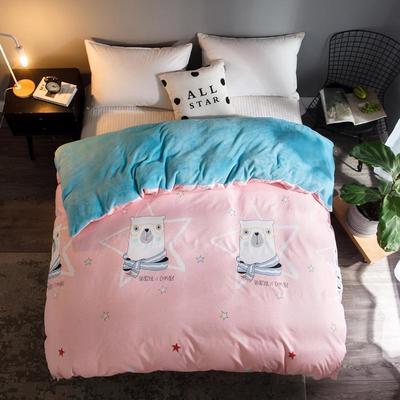 2018新款-法莱绒+暖肤棉被套单品被套 180x200cm 大熊-粉