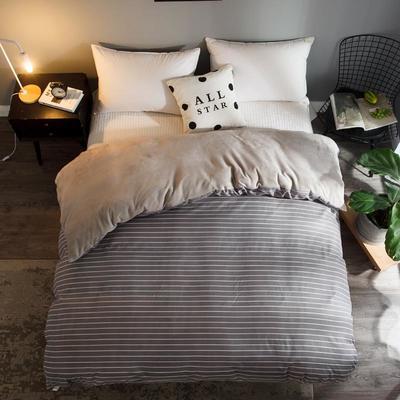 2018新款-法莱绒+暖肤棉被套单品被套 180x200cm 灰条