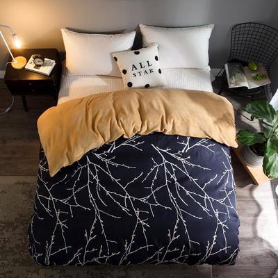 2018新款-法莱绒+暖肤棉被套单品被套 180x200cm 浪漫春芽