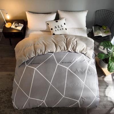 2018新款-法莱绒+暖肤棉被套单品被套 180x200cm 米灰