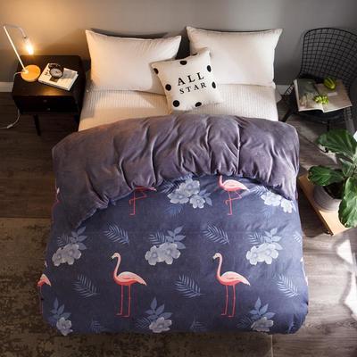 2018新款-法莱绒+暖肤棉被套单品被套 180x200cm 小鸟-紫