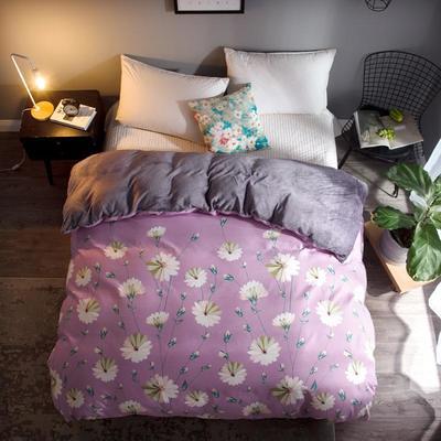 2018新款-法莱绒+暖肤棉被套单品被套 180x200cm 紫色浪漫