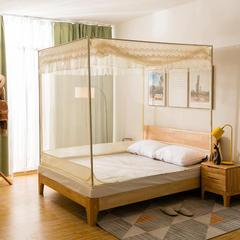 2018常年供货蚊帐-坐床式拉链蚊帐(总)坐式外穿杆蚊帐--典雅 150*200cm 米黄