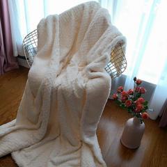 2019新款割绒麻花双层 毛毯 130*160cm 白色