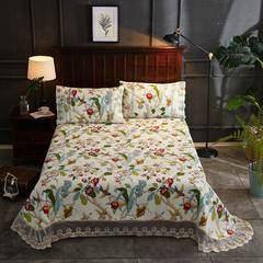 2019新款全棉亚麻粗布(复合软凉席)&床盖 三件套 245*245cm 春暖花开
