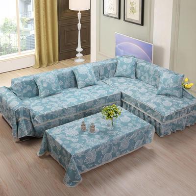 美系双花边沙发巾美系风格沙发罩 210*200 空谷幽兰