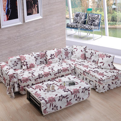 美系双花边沙发巾美系风格沙发罩 210*200 落叶之秋-咖