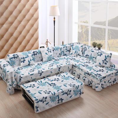 美系双花边沙发巾美系风格沙发罩 210*200 落叶之秋-蓝