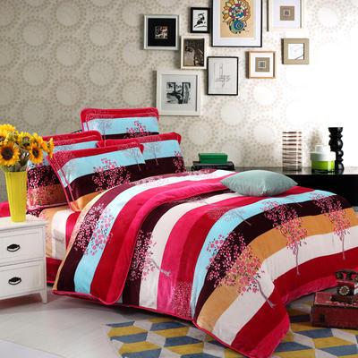 藏羚绒四件套 标准(1.8m床) 红粉佳人