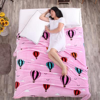 金貂绒毛毯 120*200 热气球-粉