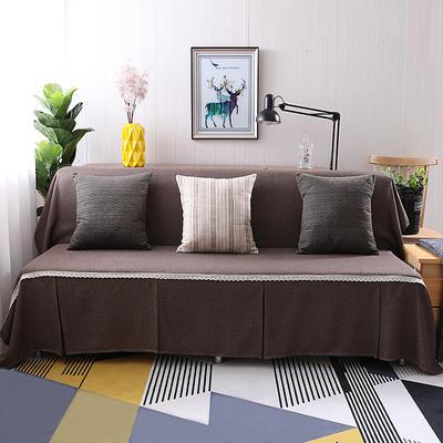 纯色沙发床沙发巾风格(无扶手) 210*230cm/沙发床套 咖啡人生