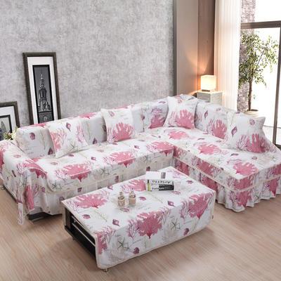 2018双花边美系双人组合沙发套沙发巾 45*45/不含芯(只) 海洋之家