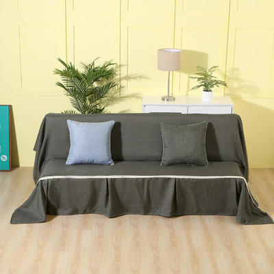 纯色沙发床沙发巾风格(无扶手) 210*230cm/沙发床套 黑灰