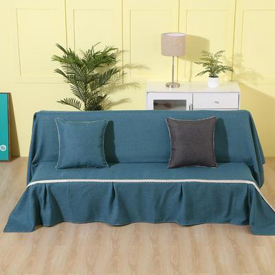 纯色沙发床沙发巾风格(无扶手) 210*230cm/沙发床套 深湖蓝