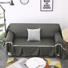 2018新款纯色沙发床沙发巾风格(有扶手) 210*230cm/沙发床套 黑灰(沙发巾)