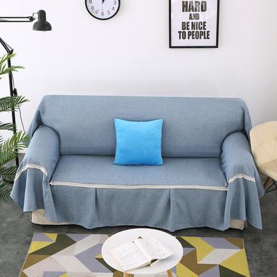 2018新款纯色沙发床沙发巾风格(有扶手) 210*230cm/沙发床套 浅蓝(沙发巾)