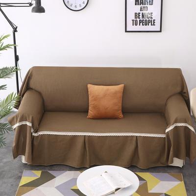 2018新款纯色沙发床沙发巾风格(有扶手) 210*230cm/沙发床套 咖色(45*45抱枕套/只)