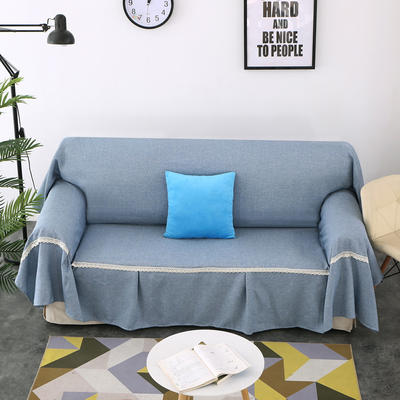 2018新款纯色沙发床沙发巾风格(有扶手) 210*230cm/沙发床套 浅蓝(45*45抱枕套/只)