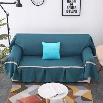 2018新款纯色沙发床沙发巾风格(有扶手) 210*230cm/沙发床套 深湖蓝(45*45抱枕套/只)