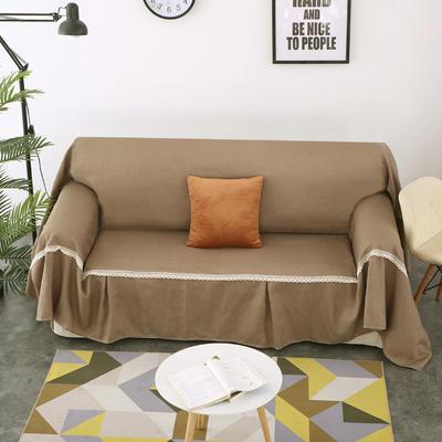 2018新款纯色沙发床沙发巾风格(有扶手) 210*230cm/沙发床套 驼色(45*45抱枕套/只)