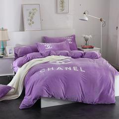 宝宝绒毛巾绣四件套-格韵 2.0米床 格韵-浅紫
