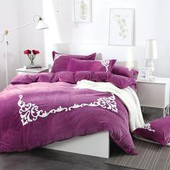 宝宝绒毛巾绣四件套-格韵 1.5-1.8米床 格韵-深紫