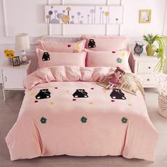 水晶绒卡通毛巾绣四件套 2.0米床 开心小熊