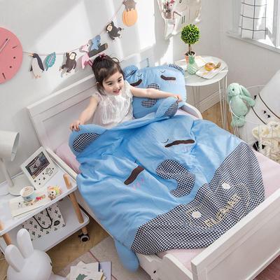 2018新款 A类儿童可爱型系列夏被四件套 直径120抱枕40*50 呆萌小象-蓝