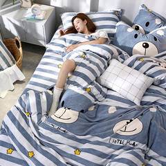 2018新款牛奶绒印花四件套 1.2m(4英尺)床 宝贝熊-蓝