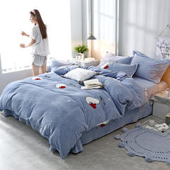 2018新款牛奶绒印花四件套 1.2m(4英尺)床 小熊先生-蓝
