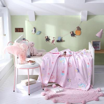 2019新款儿童双层纱夏被 120x150cm 开心岛-粉