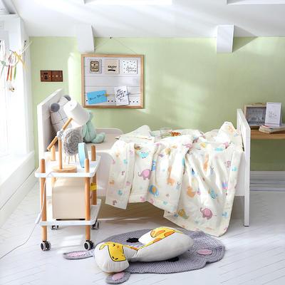 2019新款儿童双层纱夏被 120x150cm 七彩童年-米