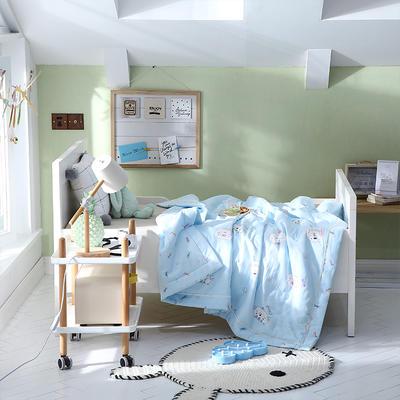 2019新款儿童双层纱夏被 120x150cm 小糊涂-蓝