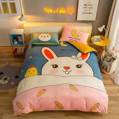 2019新款宝宝绒数码印花四件套 1.2m床单款三件套 大牙兔