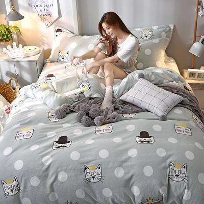 2019新款牛奶絨印花四件套 1.2m床單款三件套 貓咪寶貝-藍