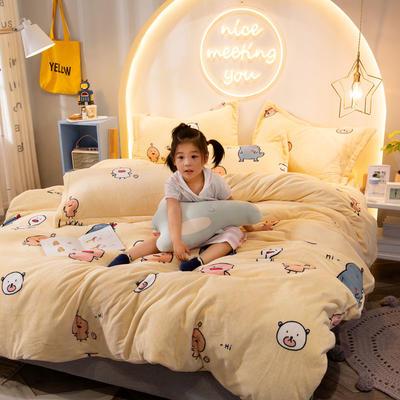 2019新款牛奶絨印花四件套 1.2m床單款三件套 幸福伙伴-米