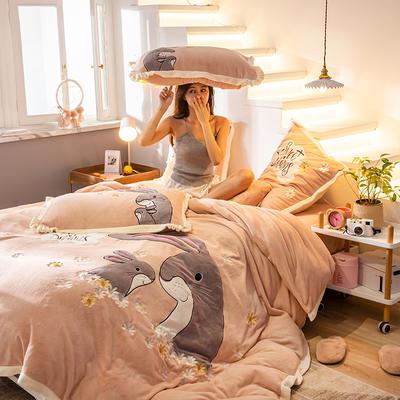 2019新款牛奶绒绣花四件套 1.2m床单款三件套 可爱多多