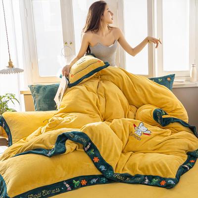 2019新款牛奶绒绣花四件套 1.2m床单款三件套 西西里之夏