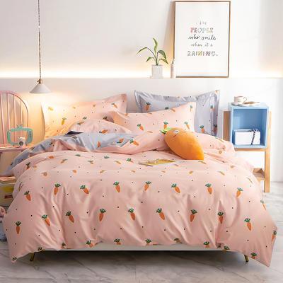 2019新款全棉磨毛印花四件套 1.2m床单款三件套 炫彩萝卜-桔