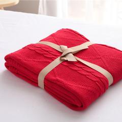 针织盖毯.沙发毯.休闲午睡毯.床尾巾-菱形毯11色 120*180 酒红