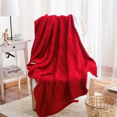 针织盖毯.沙发毯.休闲午睡毯.床尾巾-双麻花加绒新拍 120*180(腈纶) 大红